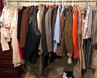 Rack of vintage clothes - mostly men's but some women's too