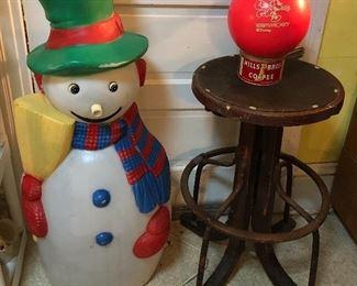 "41"" blow mold snowman, antique bentwood office stool (has repair), ""Team Mickey"" Disney bowling ball"