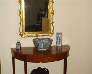 Half round Inlayed table, gold chippendale  mirror with eagle, tin tray