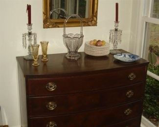 Gold mirror, 4 drawer Mahogany chest , glass h\Heisey  basket