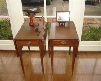 Painted scale, pair double  drop leaf  end stands