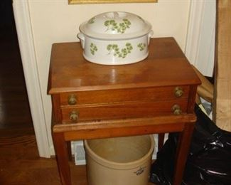 Pottery,  watercolor, spool cabinet stand