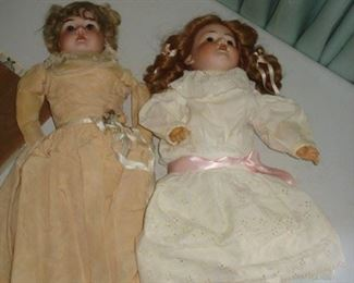 two china head  early dolls