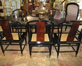 Henredon black lacquer - 8 chairs - pair of occasional chairs
