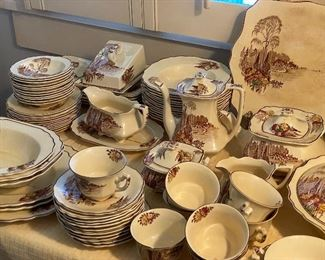 Large set of brown transfer ware.