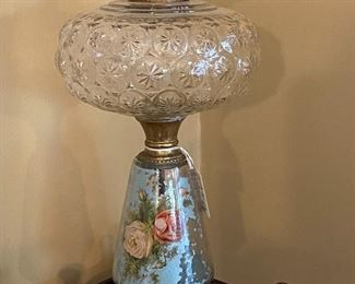 painted oil lamp