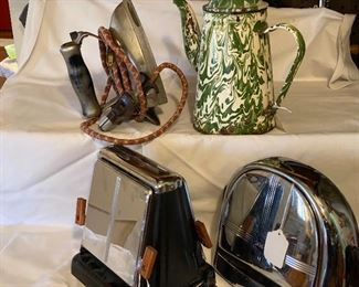 vintage toasters, iron and enamelware