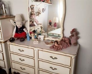Several French Provincial/Shabby Chic Pieces. Credenza Dresser with Mirror