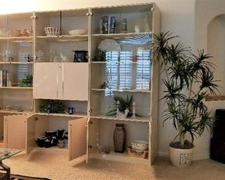 #7 - Mid-century modern decor wall unit for book or display and has a drop down for a bar or other storage - 3 units shown - $125 each unit -  purchase all 3 units discounted at $325. There are 2 more corner pieces shown in another photo.
