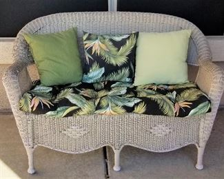 #5 - Wicker loveseat with cushion and pillows - $145