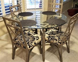 #2 - Kitchen table and four chairs. Metal, glass & fabric seats. $225