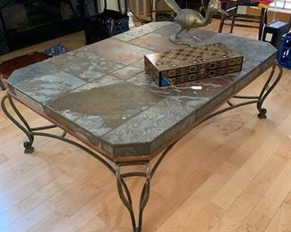 an iron and slate Heritage coffee table