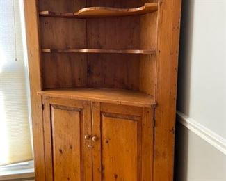 "ITEM #1  $575. Beautiful antique, handcrafted New England pine corner cupboard.  47"" w x 73.5"" t x 15 1/2"" deep from the back point to the front, the two corners are 20"" deep."