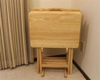 Butcher block TV trays.