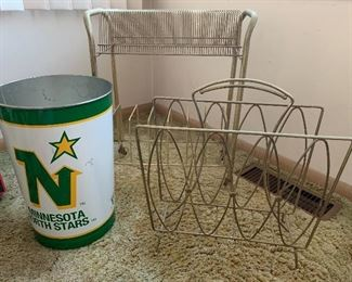 Vintage record holder, magazine rack and North Stars garbage can. Triple treat of vintage items!