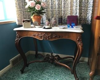 Walnut entry table with marble top