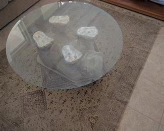 36 INCH DIA GLASS BEAR TABLE