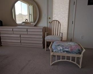 BDRM DRESSER MIRROR  CHAIR  SEAT