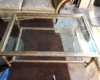 extra large Brass and Glass Coffee Table
