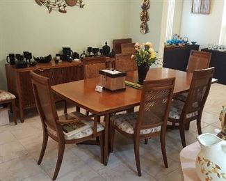 Drexal Dining Table with 8 Matching Chairs and 2 Extra Leafs