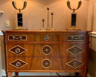 "John Widdicomb Russian collection chest...there are two!!  Features walnut, ebony, and brass details.  Measures 52""H x 21""D x38.5""w."