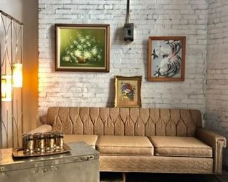 Mid-Century Modern Sofa, Lighting, Paintings & Art Work