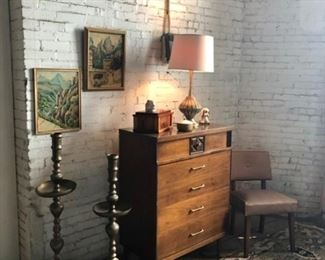 Mid-Century Modern  Chest Of Drawers (Bassett Furniture), Pair of Brass Bohemian Floor Candle Sticks