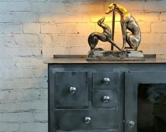 Metal Barber/Dental Cabinet, Greyhound Figural Base Lamp