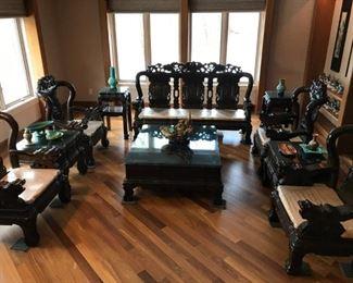0 PIECE CHINESE CARVED PADAUK LIVING ROOM SET