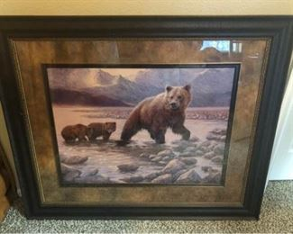 002 Large Framed  Matted Mama Bear and Cubs Print