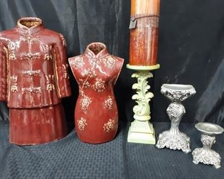 2 Asian vases, 3 candle holders, and 1 candle