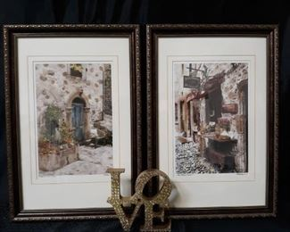 2 framed prints by Martin Roberts and other home decor