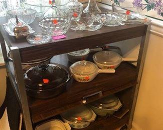 kitchen cart, Pyrex and Corningware casserole dishes, glassware