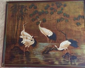 Large painting featuring cranes