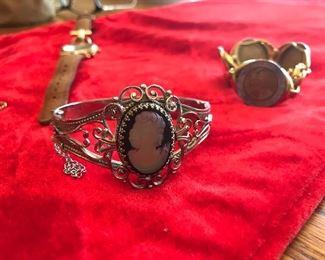 Cameo hinge bracelet, Bronze coin bracelet