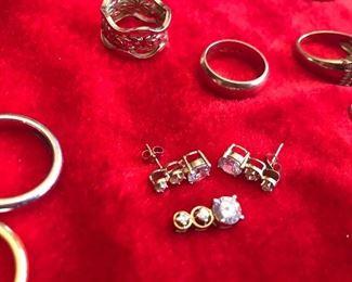 14k cz earrings and pendant