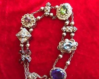Vintage 14k yellow gold Victorian slide bracelet 14k and 10k charms