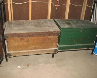 2 of 4 old wood tool chests