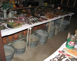 galvanized buckets and just a few of many flower pots