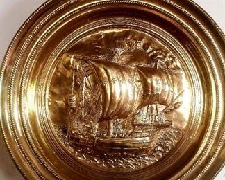 Large brass Galleon plaque
