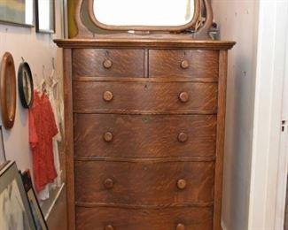 Antique Serpentine Oak Highboy Chest / Dresser with Mirror