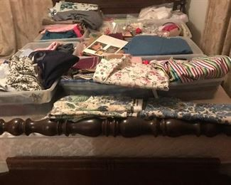 vintage full size bed and mattress and tons of fabric : quilting, sewing, upholstery