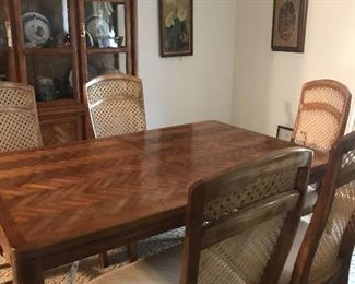 retro dining table with 6 chairs and china cabinet