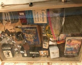 case full of VINTAGE treasures including JUNE kELLY PRINT OF ELVIS