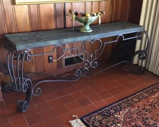$375.00 Wrought iron style console/hall table with faux stone top