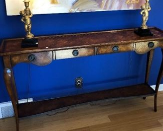 $595.00 Theodore Alexander console/hall table with parquetry and 4 drawers
