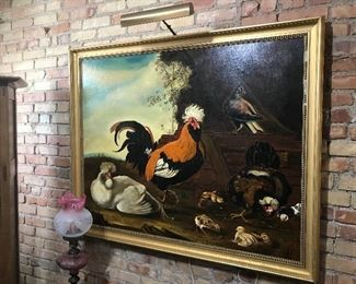 $795.00 Original signed oil painting, fowl scene, on canvas in gilt wood frame.  Purchased in New York City 30 or 40 years ago.