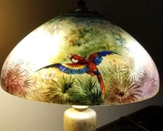 Rare Signed Handel Reverse Parrot Painted Shade Lamp, More Handels to Come