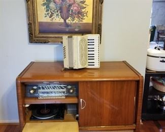 MCM Stereo with Record player & Vintage Accordian