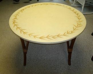 Mid century Dimensional  Plastics Corp. Glamourama table with rattan legs. Probably 1960.